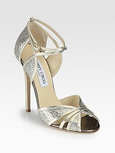 Jimmy Choo Fitch Glitter & Metallic Leather Sandals - same in silver?