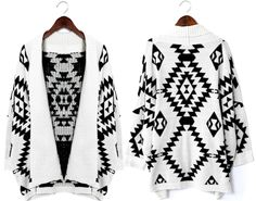 Aztec Open Knit Cardigan - Chicwish