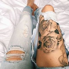 Beautiful leg piece. ❣ #tattoos #tattoo #roses