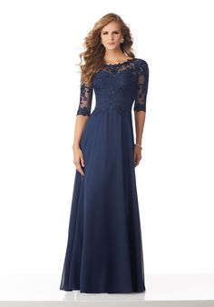 Estilo ENLNO Chiffon Mother of the Bride Gown with Beaded and Embroidered Appliqués on Net Chiffon Mother of the Bride Gown Featuring a Beaded and Embroidered Bodice with Net Sleeves Colors: Navy, Emerald Navy Prom Dresses, Mob Dresses, Fall Wedding Dresses, Fall Dresses, Bridesmaid Dresses, Formal Dresses, Mother Of The Bride Dresses Long, Mothers Dresses, Mori Lee Bridal