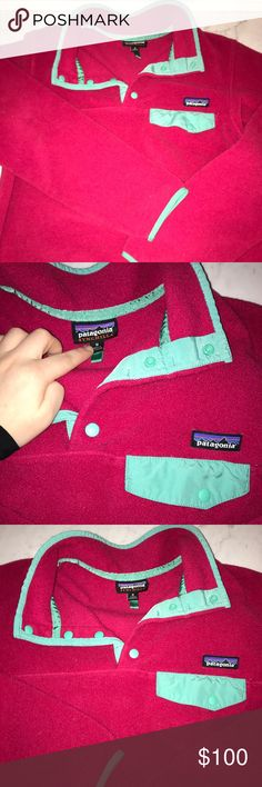 PATAGONIA SYNCHILLA PATAGONIA SYNCHILLA GREAT CONDITION!!! Pink with turquoise trim. Size medium Patagonia Tops Sweatshirts & Hoodies