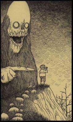 The Unspeakable Horrors of HP Lovecraft as envisioned by Edward Gorey (artist John Kenn Mortensen) Edward Gorey, Hp Lovecraft, Monster Art, Monster Drawing, Arte Horror, Horror Art, Creepy Art, Scary, Don Kenn