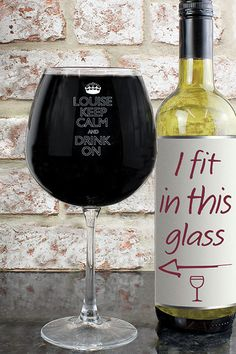 Keep Calm Bottle Of Wine Glass  £18.00 Perfect for all wine fanatics! H23.5 x W10.3 x D10.3cm. Hand wash only. Personalise with a name up to 12 characters. Personalisation is case sensitive and will appear as entered. The words 'KEEPCALM AND DRINK ON' are fixed text.