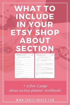 What to include in your Etsy shop about section | Ever wondered what information you should include in your about section on etsy? Then this blog (and free workbook!) is for you! Click through to read the post and download your free worksheets!