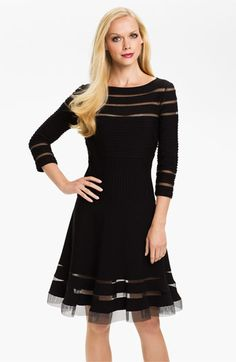 Tadashi Shoji Mesh Stripe Fit & Flare Dress (Regular & Petite) available at #Nordstrom