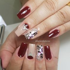 40 Modelos de Unhas com Flores Gorgeous Nails, Pretty Nails, Nail Jewels, Flower Nail Art, Autumn Nails, Birthday Nails, Rhinestone Nails, French Nails, Nail Arts