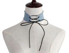 Women-Fashion-Girl-Lace-Up-Adjustable-Bandage-Punk-Chocker-Denim-Blue-Nacklace