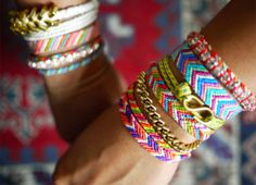 spring and summer jewelry: boho chic styles for festival styled accessories and jewels. Friendship bracelets and arm candy.