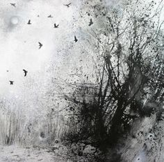 'With a tangle of rooks', mixed media on paper. Stewart Edmondson.
