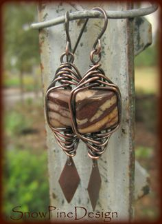 Brown Zebra Jasper and Herringbone Woven Copper by SnowPineDesign Coffee and cream Zebra Jasper squares shine in this pair of Herringbone Hand Woven Copper wire earrings. Hand crafted Copper ear wires. Several available, stone patterns will vary.