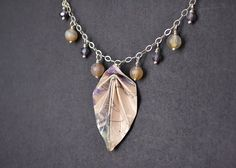 Neutral paper origami leaf necklace on sterling by MunPaperi