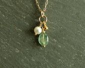 Pearl Emerald Necklace, 14K goldfilled, genuine Columbian emerald, smooth natural blue green stone, freshwater pearl, real emerald jewelry  https://www.etsy.com/shop/bluegreenjewels
