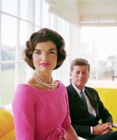 Jaquelin and President John F. Kennedy – Pink and Vivid yellow made unforgettable and alluring