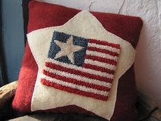 punch needle flag pillow