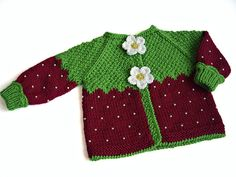 Knitted baby jacket Red Strawberry baby girls red by MiaPiccina, $48.00