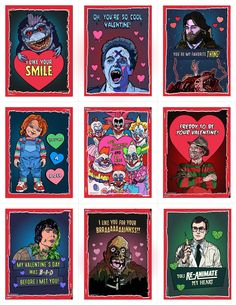 Image of 80's Horror Valentine's Day Card Pack