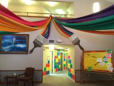 Great pops of color used in this scene! Pleasant Valley UMC, Wichita, KS www.cokesburyvbs.com