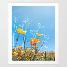 Orange Poppy Field Art Print Orange Flower Bouquets, Sunflower Bouquets, Blue Bouquet, Peach Flowers, Floral Bouquets, Spring Flowers, Night Flowers, Bulb Flowers, Red Insects