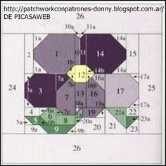 PATCHWORK= SOLO PATRONES = TODO GRATIS Hexagon Patchwork, Patchwork Patterns, Quilt Block Patterns, Applique Patterns, Pattern Blocks, Quilt Blocks, Pattern Ideas, Flower Quilts, Foundation Piecing