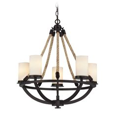 Chandelier with White Glass in Aged Bronze Finish at Destination Lighting