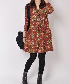 Wine Red 2014 Spring clothes Cotton dress by originalstyleshop, $55.00