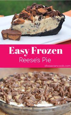 Frozen reese's pie recipe that is easy, no-bake and crowd-pleasing. Great cold dessert recipe for summer days. Ice Cream Desserts, Köstliche Desserts, Frozen Desserts, Delicious Desserts, Frozen Pies, Frozen Yogurt, Chocolate Pie Recipes, Chocolate Desserts, Reese's Chocolate