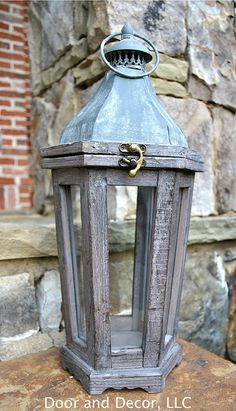 Small 6-pane lantern~rustic lantern~antique lantern~wooden lantern~lantern for deocr~porch lantern~lanterns
