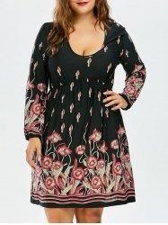 #AdoreWe #Gamiss Gamiss High Waist Floral Long Sleeve Dress - AdoreWe.com