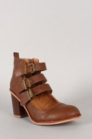 Qupid Varsity-14 Leatherette Buckle Round Toe Ankle Bootie