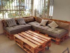 If I added arm rests on two of these, I could still make the side that's longer interchangeable Diy Pallet Couch, Wooden Pallet Furniture, Diy Furniture, Furniture Design, Palette Furniture, Palette Couch, Diy Home Decor, Room Decor, Couch Design