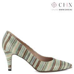 eeb3eb5f1a Anis női bőr cipő Csíkos bőr felsőrésszel, 7,5 cm magas sarokkal készült  elegáns