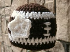 Baby girl football hat {at the game with daddy}