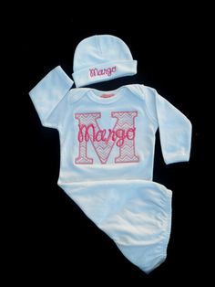 Newborn Girl Take Home Outfit Chevron Monogrammed Layette Gown Personalized Baby Girl Clothes Beanie Hat
