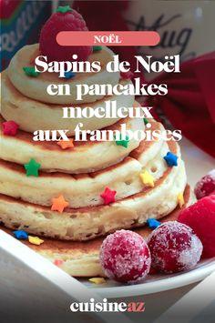 Les sapins de Noël en pancakes moelleux aux framboises peuvent être servis aux enfants au petit déjeuner par exemple. #recette#cuisine#pancakes#framboise #petitdejeuner #noel#fete#findannee #fetesdefindannee Caramel, Macaron, Breakfast, Raspberries, Firs, Truffle, Sticky Toffee, Morning Coffee, Candy
