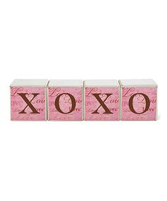 Love this Pink 'XOXO' Block Sign Set on #zulily! #zulilyfinds
