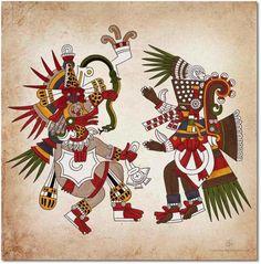 Aztec Ehecatl, the god of wind, and the first sun god, Tezcatlipoca