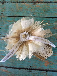 Ivory Lace, Burlap Wedding Flowers/Mason Jar Decorations/ Wedding, Bridal Decorations/ Lace Flowers/ Cake Decorations/ Bridal Shower Decor