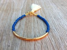 Gold tube bracelet, Beaded Bracelet, beaded bangle, tassel bracelet, Friendship…