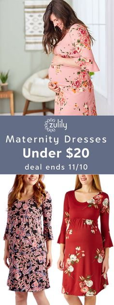 Sign up to shop maternity dresses under $20.Discover a beautiful dress to keep you comfortable and stylin' during your bump months and beyond. Shop floral, patterned, and solid dresses with a supple stretch that comfortably traces your curves. Deal ends 11/10.
