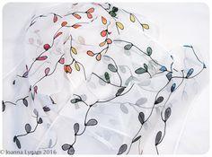 """Rainbow silk scarf. Vine Silk Scarf. Hand-painted silk scarf Handmade silk scarf. White silk scarf 8.5""""x54"""". OOAK. Handpainted silk scarves by SirenSilks on Etsy"""