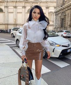 Gorgeous in our 'Sheer Turtleneck Blouse' + 'Patent Mini Skirt', love this look! Summer Dress Outfits, Cool Outfits, Dressy White Blouses, Sexy Blouse, Bow Blouse, German Fashion, Fashion Addict, Couture Fashion, Everyday Fashion