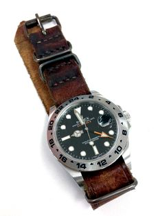 "Rolex Explorer II on custom made leather nato from ""Stach Straps"""