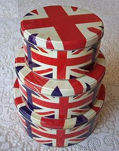 Set Of Three Union Jack Cake/Biscuit Tins... these would be lovely for filling with Christmas baking!