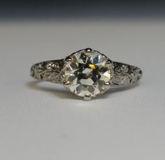 Stunning Vintage Art Deco Large European Cut Diamond by MSJewelers, $10415.00