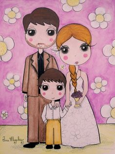 Lindas ilustrações sobre família