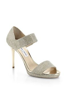Jimmy Choo - Alana Lamé Wide-Strap Sandals