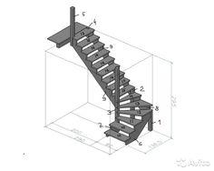 Лестница деревянная поворотная левая— фотография №1