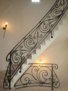 modern stair railing ideas iron safety grill design for staircase Modern Stair Railing, Wrought Iron Stair Railing, Stair Railing Design, Stair Handrail, Staircase Railings, Balcony Railing, Modern Stairs, Stairways, Railing Ideas