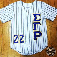 """Glitter """"SIGMA GAMMA RHO"""" Pinstripe Baseball Jersey"""