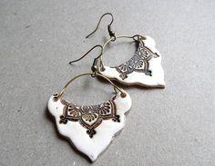 Faux ivory earrings, lotus mandala, tribal jewelry, polymer clay, mehndi, henna